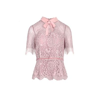 lace detail ribbon blouse pink